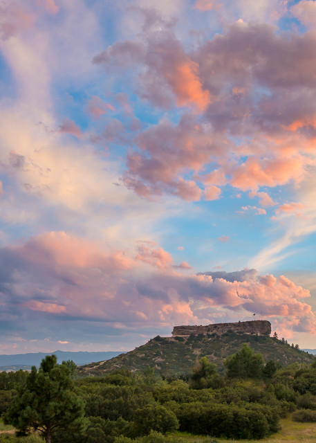 Sunset Photograph Castle Rock Colorado Rock Blue Sky Pink Yellow Clouds