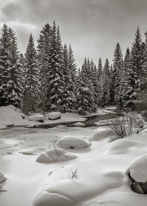Black & White Winter Photo of Blue River Maggie Pond Breckenridge Colorado