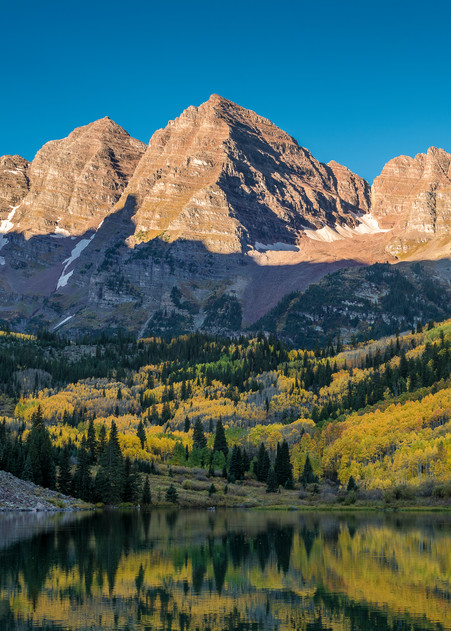 Majestic Aspen Colorado Maroon Bells Sunrise Illuminating Mountain Peaks