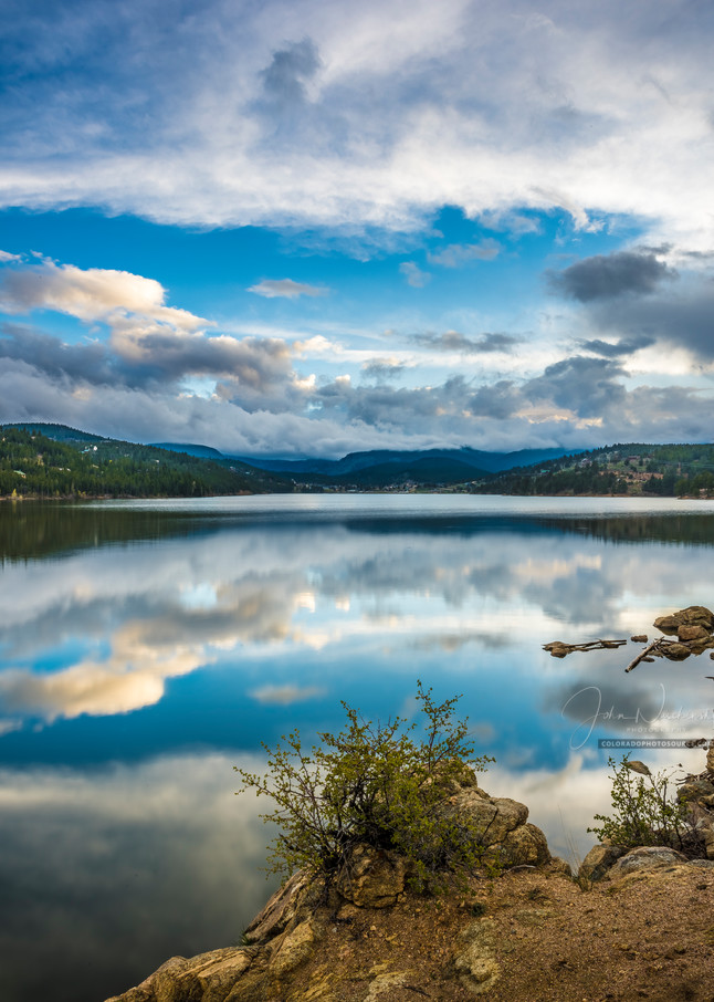 Photograph of Boulder Reservoir with Clouds Reflecting on Waters