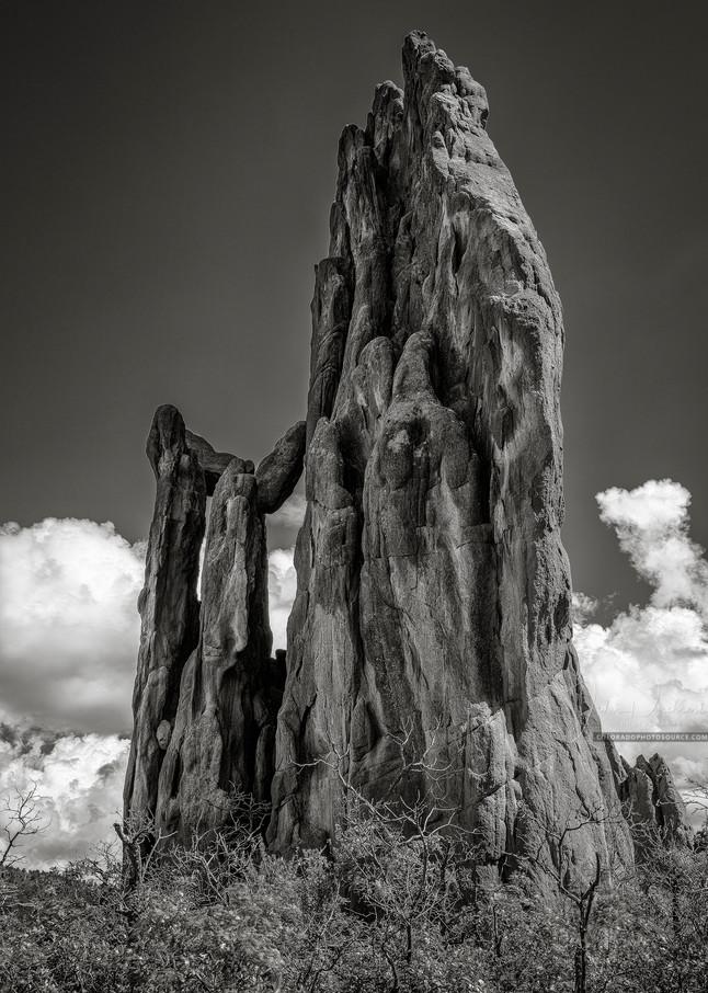 B&W Photo Garden of the Gods in Colorado Springs Vertical Image