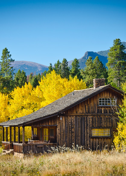 Fall Landscape Picture Weathered Ranch Home in Colorado