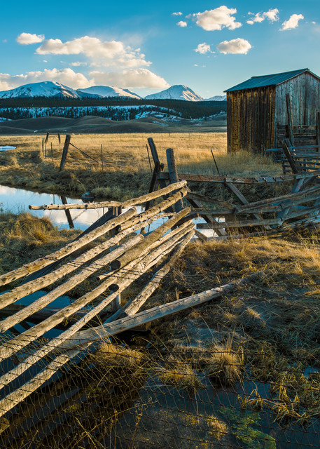 Photo of old Colorado Ranch Fence, Out Building with Stream