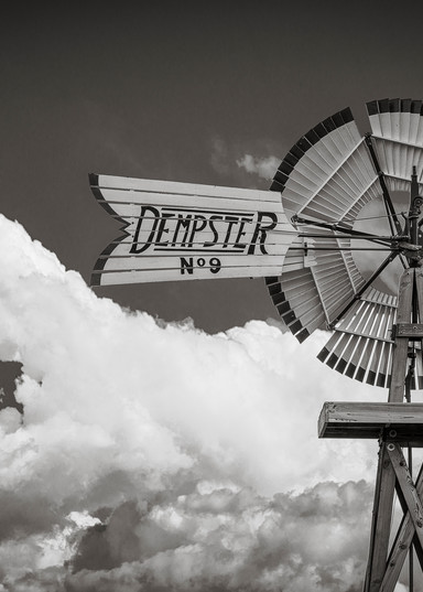 B&W Photo of Colorado Farm Dempster N. 9 Windmill