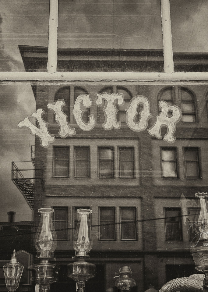 Photograph of Old Victor Colorado Storefront Window Street Reflection