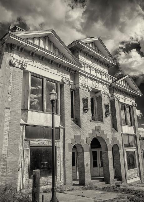 B&W Sepia Photograph of Historic Victor Colorado Masonic Lodge