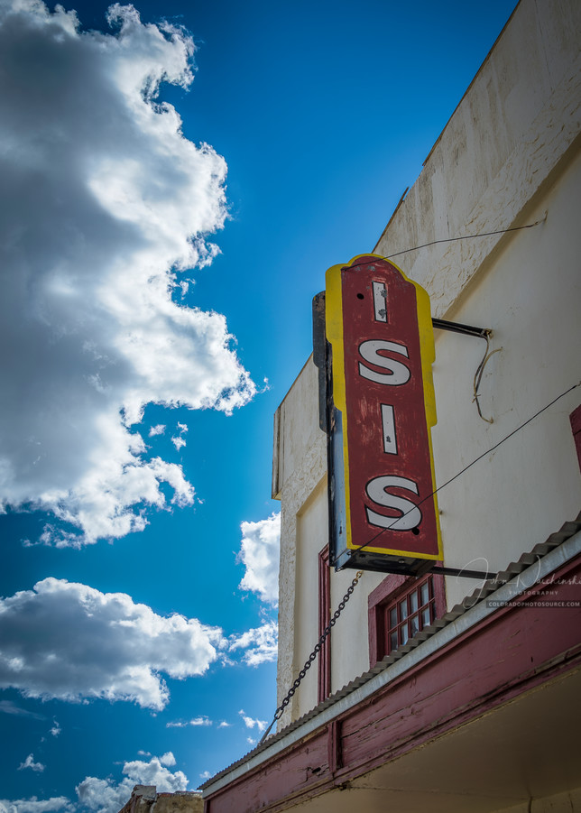 Vertical Color photo Isis Movie Theater Historic Downtown Victor Colorado