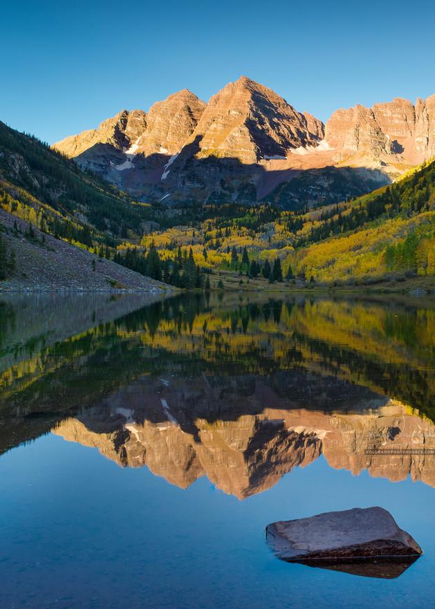 Vertical Photo of Aspen Maroon Bells in Colorado Reflecting Upon Maroon Lake