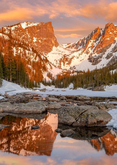 Photo of Colorful Sunrise Over Dream Lake & Hallett Peak RMNP