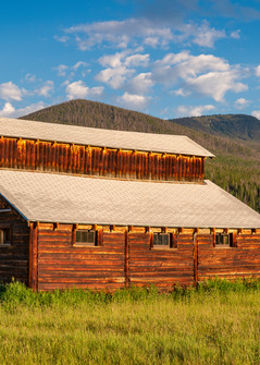 Panoramic Photo of Little Buckaroo Barn in Rocky Mountain National Park Colorado at Sunrise