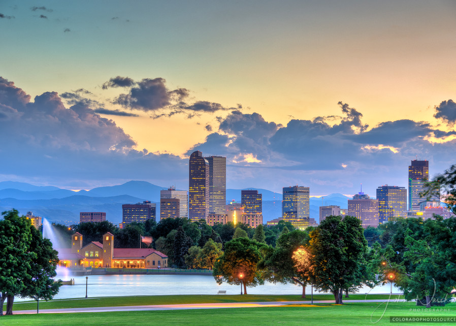 Photograph of Denver Skyline from City Park at Sunset