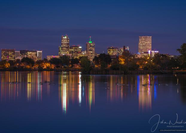 Photograph of Denver Skyline Reflection on Sloan's Lake after Sunset