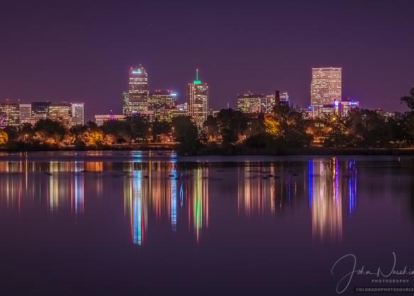 Photo of Denver Skyline Reflection Sloan's Lake Purple Sky Sunset