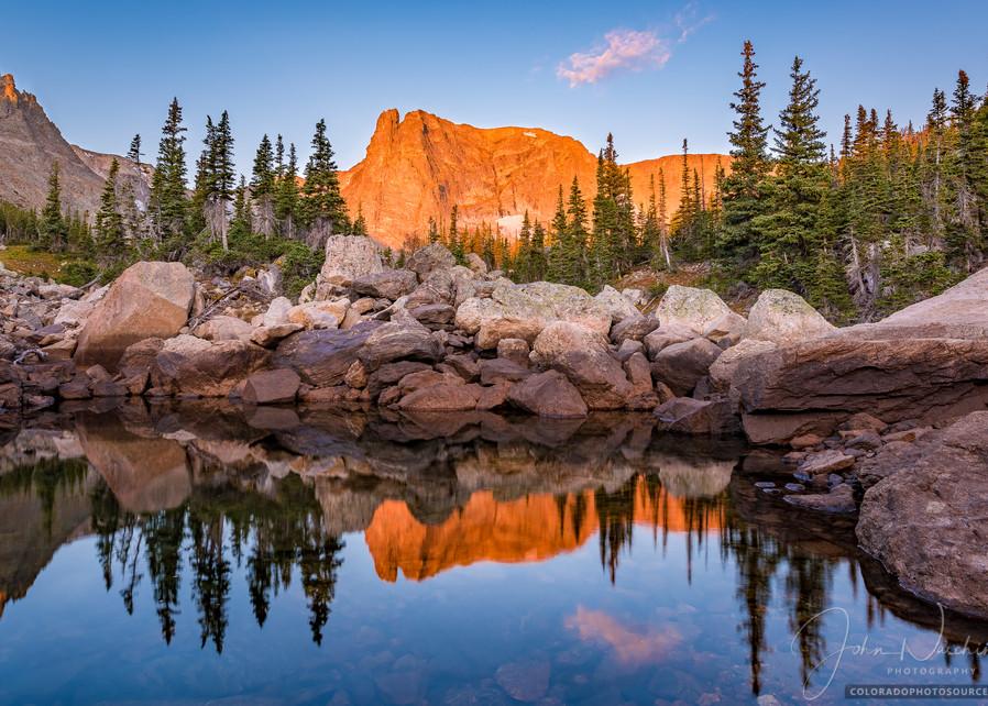 Alpenglow Notchtop Mountain Reflecting Upon Marigold Pond Rocky Mountain National Park, Colorado