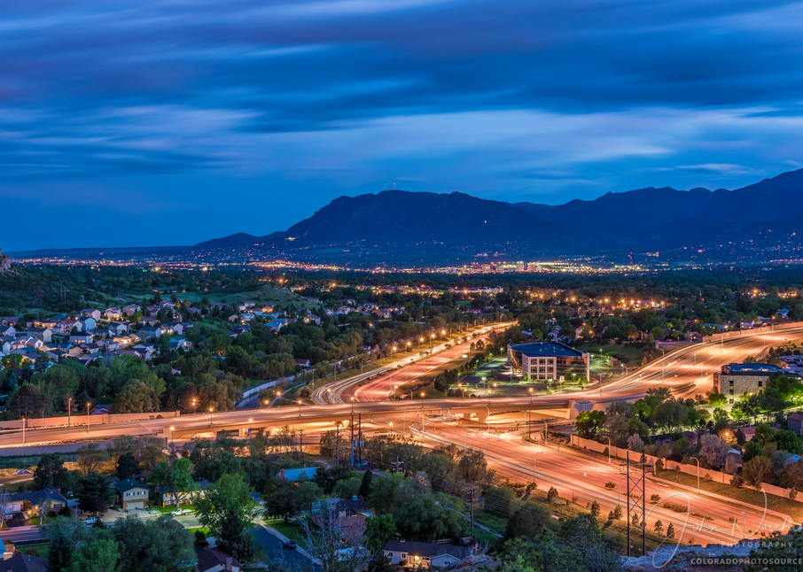 Photography of Colorado Springs City Night Skyline Cheyenne Mountain Print for Sale