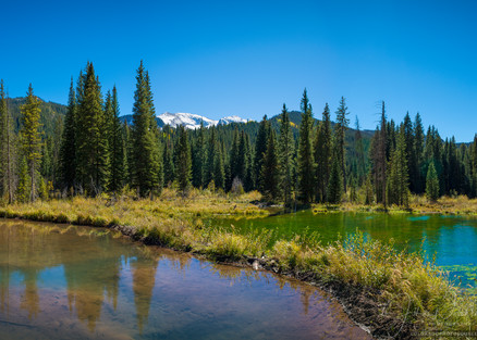 Panoramic Photograph of Small Alpine Lakes in Crested Butte Colorado