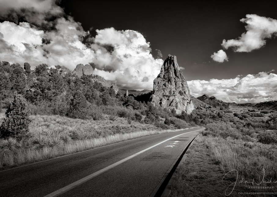 Black and White Photo Garden of the Gods Road Colorado Springs