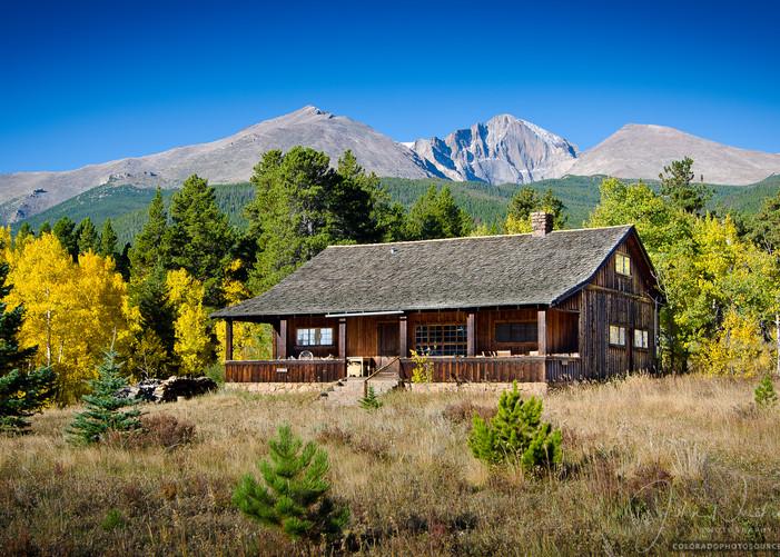 Old Colorado Ranch House Yellow Aspen Trees & Longs Peak