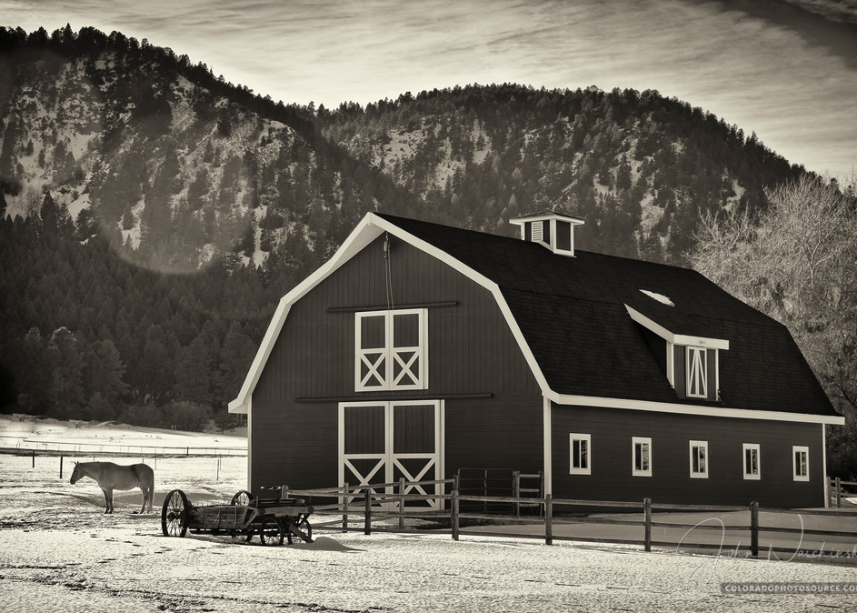 B&W Photo Colorado Horse Barn Photography Art   The Photography Alchemist, LLC