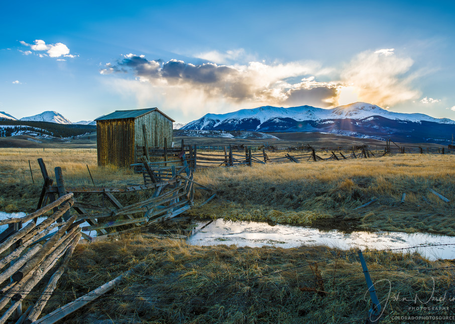 Sunset Photograph of Colorado Ranch Near Twin Lakes