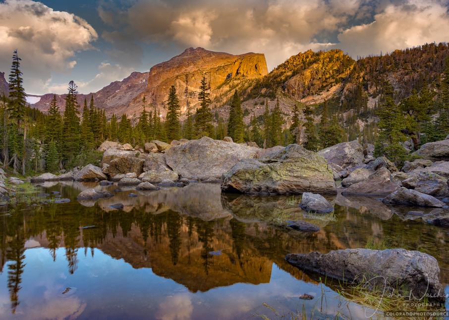 Hallet Peak Reflecting in Alpine Tarn Near Lake Haiyaha at Rocky Mountain National Park