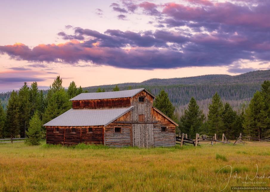 Colorful Sunrise Photo of Little Buckaroo Barn Rocky Mountain National Park Colorado