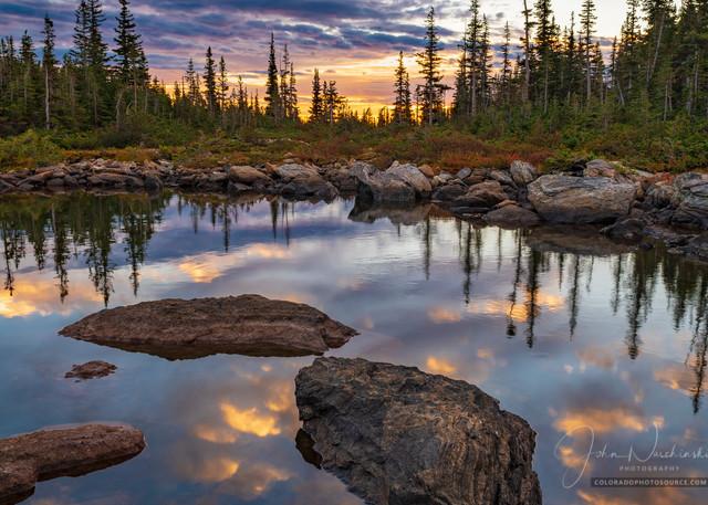 Vertical Photo Sunrise Marigold Pond Rocky Mountain National Park Colorado