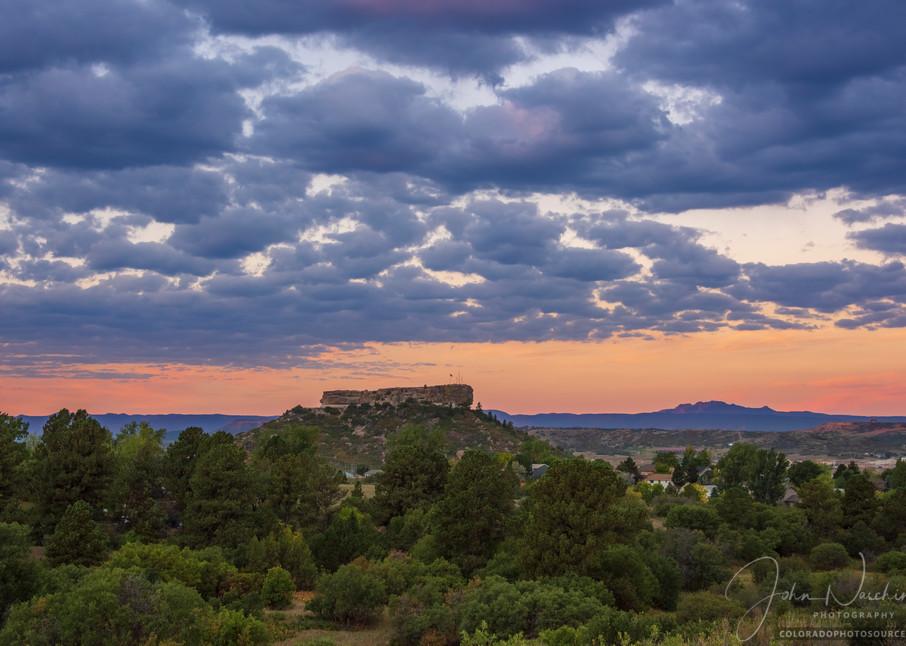 Landscape Photograph of Castle Rock Colorado at Twilight