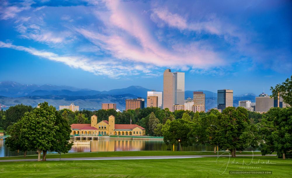 Photo of Denver Skyline from Denver City Park at Sunrise
