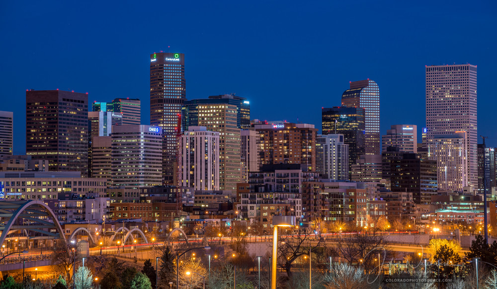 Denver Night Skyline & 16th Street Bridge Close Up Photo