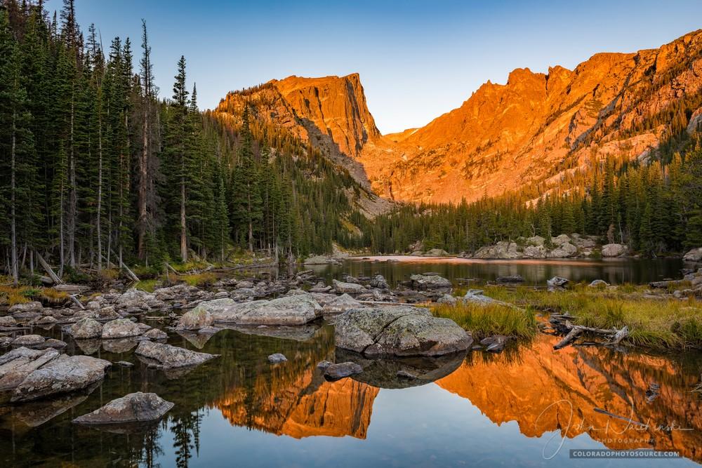 Dream Lake Alpenglow Light Illuminates Hallett Peak & Flattop Mountain