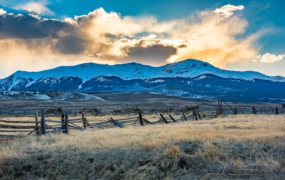 Photograph of Colorado Ranch & Sunset Over Mt Elbert