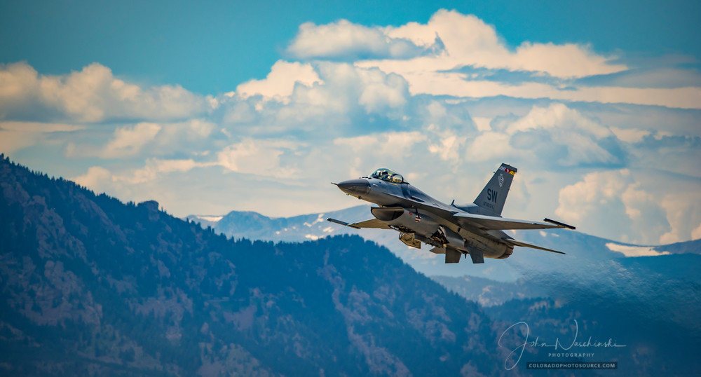 F 16 Viper Taking Off At Rocky Mountain Airshow Colorado Photography Art | The Photography Alchemist, LLC