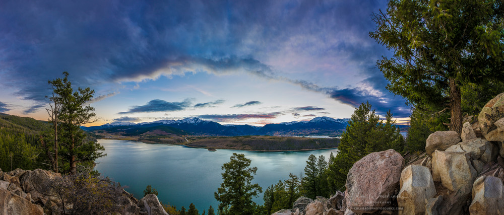 Panoramic Twilight Photo of Dillon Reservoir, Peak 4 Summit, Buffalo Mountain
