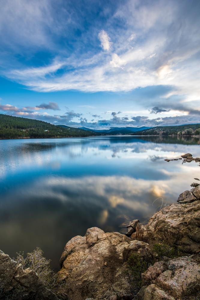 Long Exposure Photography Boulder Colorado Reservoir Cloud Reflections Upon Lake