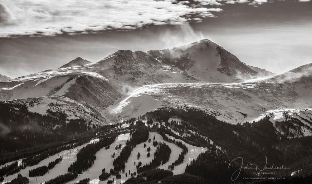 Black and White Photograph of Peak 10 Breckenridge Colorado Ski Resort