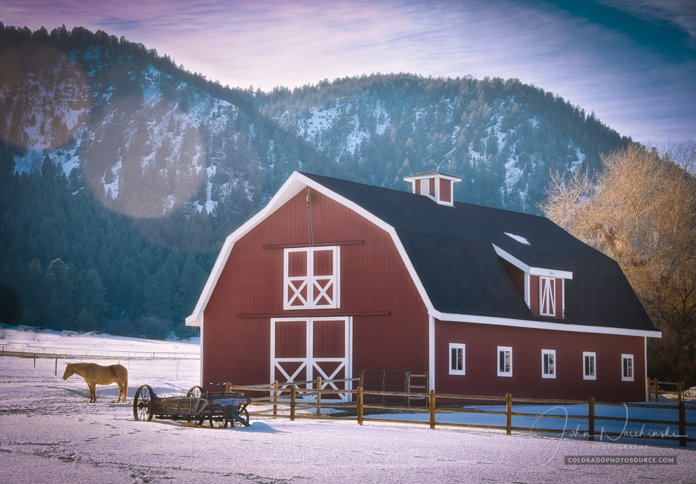 Photo Red Colorado Barn Larkspur CO - Prints for Sale