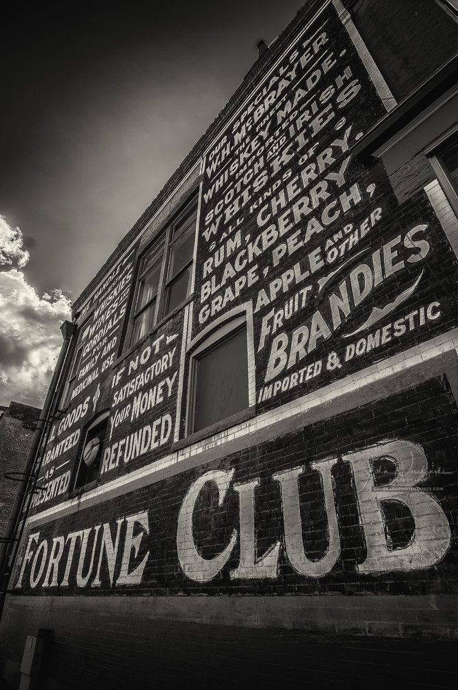 B&W Photo Side of Fortune Club Diner Building Victor Colorado