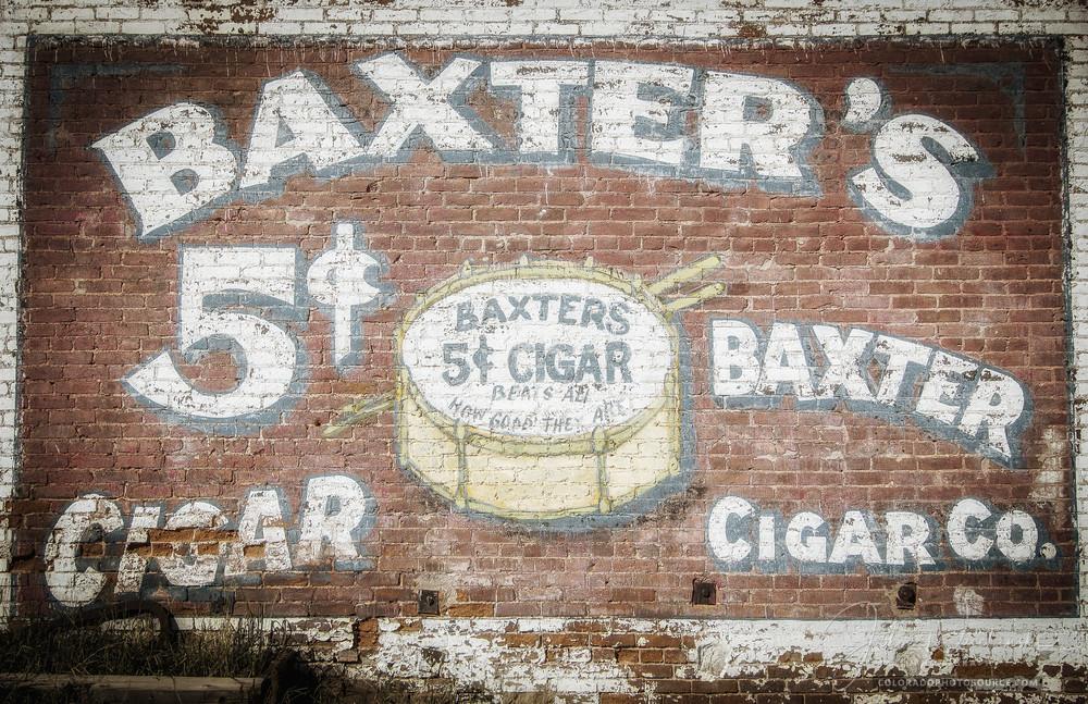 Faded Baxter Cigar Company 5 Cent Cigar Ad on Brick Building in Victor Colorado