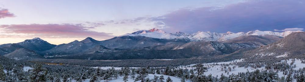 Snow Covered Longs Peak & Beaver Meadows Panorama Photo - RMNP