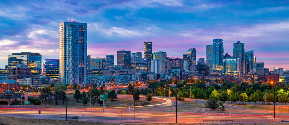 Panoramic Photo of Denver Colorado City Skyline at Sunrise - Art Prints for Sale