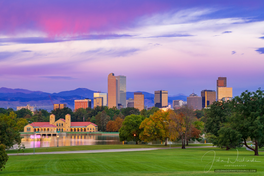 Photo of Denver Colorado Skyline and City Park Pavilion at Twilight