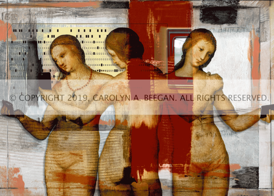 The Three Graces (taking selfies), 2019, by artist Carolyn A. Beegan