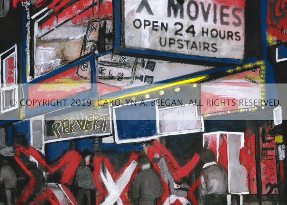 Girls, Girls, Girls (Times Square circa 1975), 2019, by artist Carolyn A. Beegan