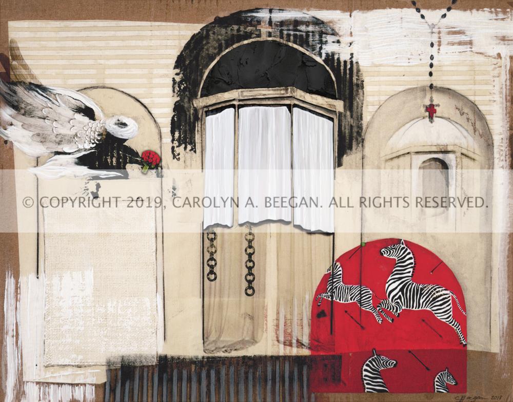 St. Agnes de Scalamandre, 2019, by artist Carolyn A. Beegan