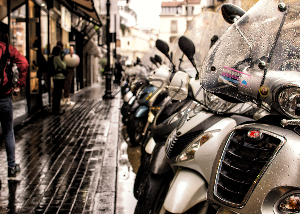 Motorini in the Rain | Travel Photo For Sale