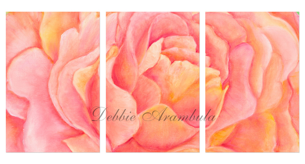 English Rose Triptych Art | Heartworks Studio Inc