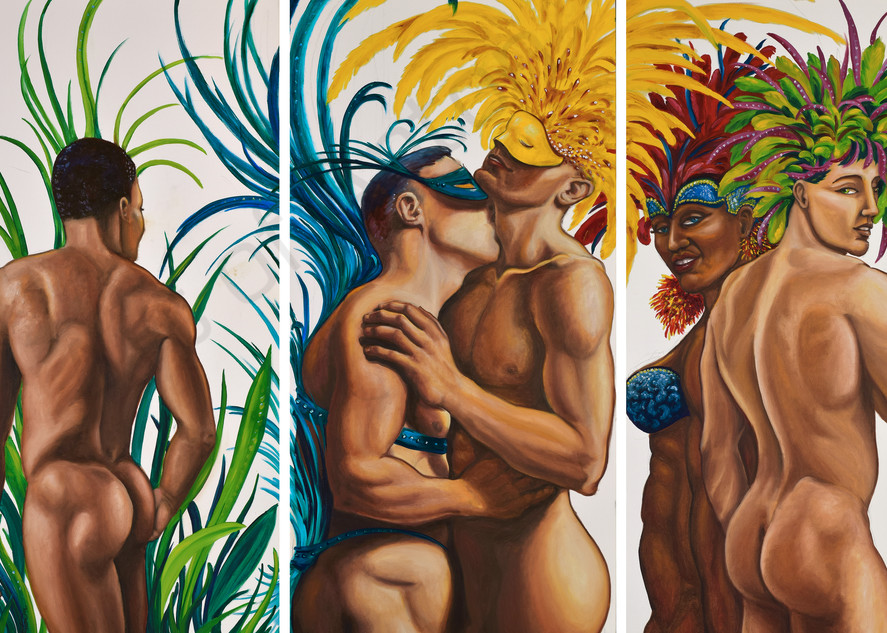 Birds of a Feather triptych by artist, Anton Uhl