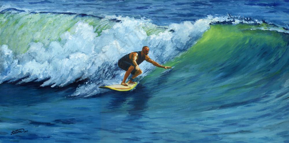 Javier Surfing by artist, Anton Uhl