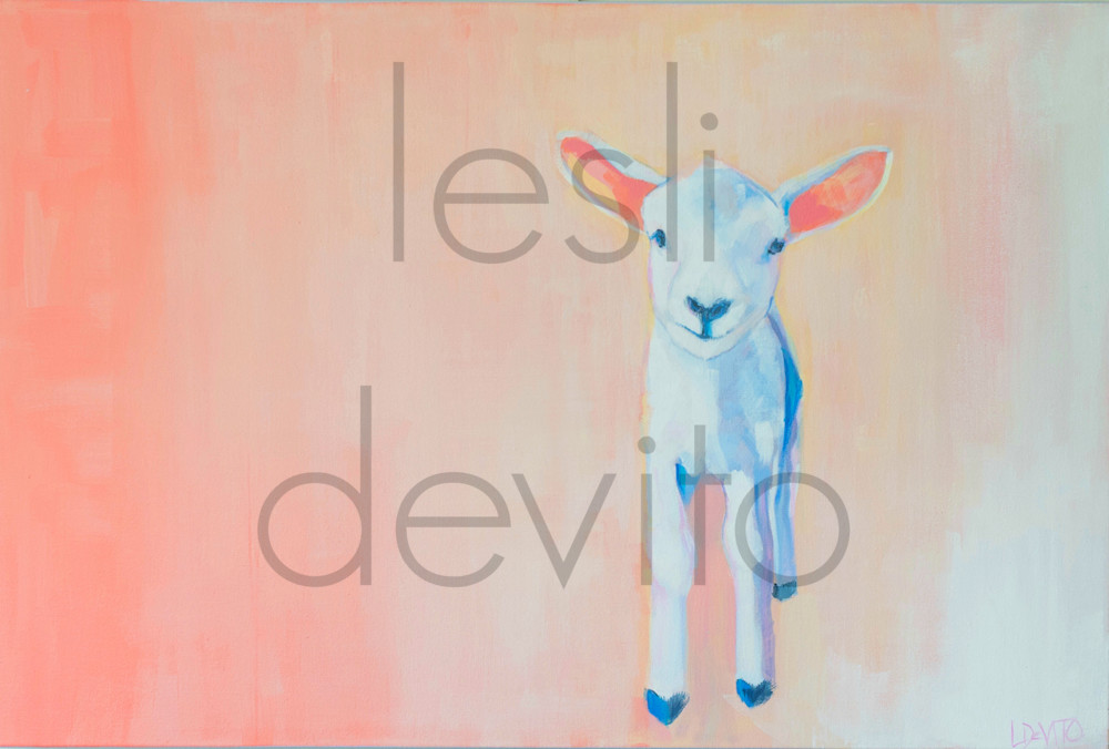 Lesli DeVito original Art Paintings | Animals | Winston |sheep | lamb